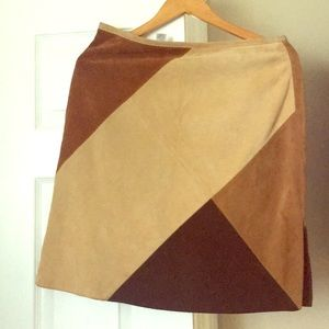 Genuine Multi-color Suede Skirt